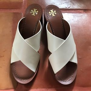 Tory Burch leather block heel slide sandals-9.5